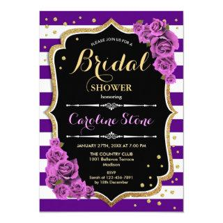Floral Black Gold Purple Stripes Bridal Shower Invitation