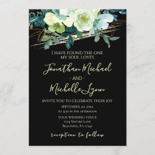 Floral Blue White Gold Black Elegant Wedding Invitations