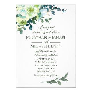 Floral Blue White Gold Turquoise Christian Wedding Invitations