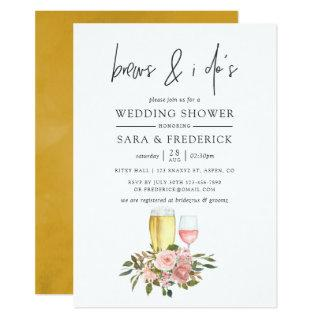 Floral Blush and Gold Brews Before The I Do's Invitations