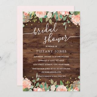 Floral Blush Gold Rustic Wood Bridal Shower Invitations