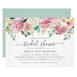 Floral Blush Greenery Eucalyptus Bridal Shower Invitations