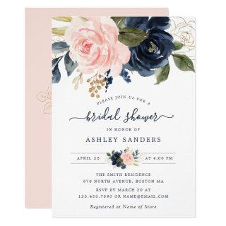 Floral Blush Navy Elegant Bridal Shower Invitation