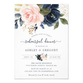 Floral Blush Navy Elegant Rehearsal Dinner Invitation