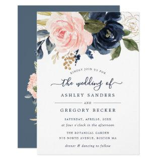 Floral Blush & Navy Elegant Typography Invitations
