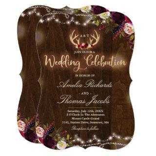 Floral Boho Wedding Invitations Rustic Antler