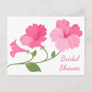 Floral Bridal Shower Pink And Fuchsia Flowers Invitation Postcard