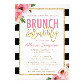 Floral Brunch and Bubbly Bridal Shower Invitations