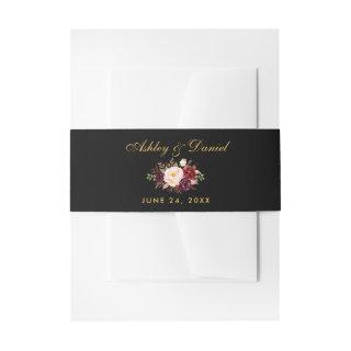Floral Burgundy Black Gold Wedding Invitation Belly Band