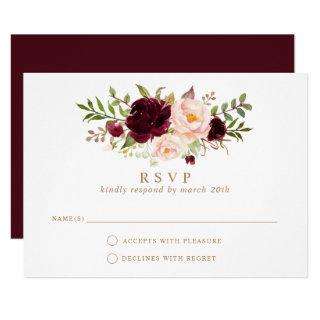 Floral Burgundy Blush Elegant Wedding RSVP Respond Invitations