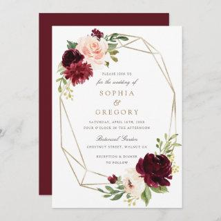 Floral Burgundy Blush Gold Frame Elegant Wedding Invitations