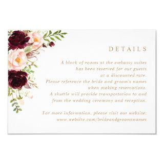 Floral Burgundy Blush Greenery Wedding Details Invitations