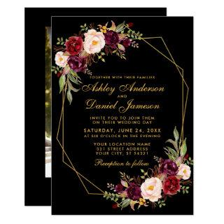 Floral Burgundy Geometric Black Gold Photo Wedding Invitation