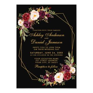 Floral Burgundy Geometric Black Gold Wedding Invitation