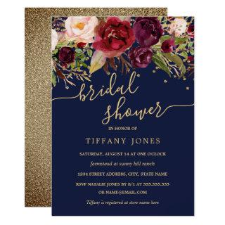 Floral Burgundy Navy Gold Confetti Bridal Shower Invitations