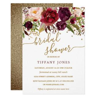 Floral Burgundy Red Gold Confetti Bridal Shower Invitations