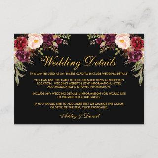 Floral Burgundy Wedding Details Black Insert Card