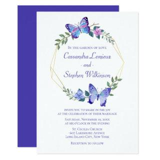 Floral Butterfly Wedding Navy Blue Butterflies Invitations