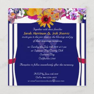 Floral canopy Jewish wedding Invitations
