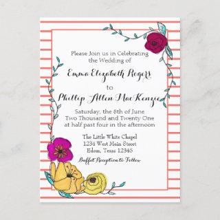 Floral Coral Stripe Magenta Poppy Yellow Wedding Invitation Postcard
