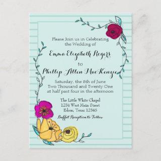 Floral Coral Stripe Magenta Poppy Yellow Wedding Invitations Postcard