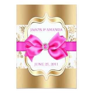 Floral Damask Wedding Invite w/ Bow [Gold & Pink]