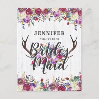 Floral Deer Antlers Will You Be My Bridesmaid Invitation