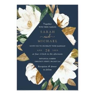 Floral Elegant Magnolia Beige Navy Wedding Invitations