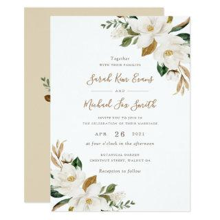 Floral Elegant Magnolia Beige Neutral Wedding Invitations