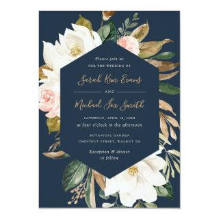 Floral Elegant Magnolia Blush Navy Neutral Wedding Invitations