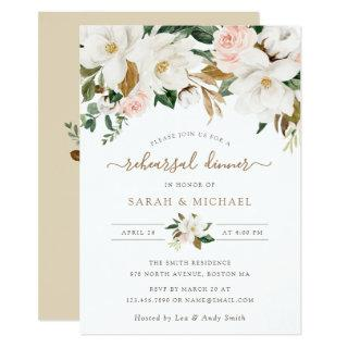 Floral Elegant Magnolia Blush Neutral Rehearsal Invitation