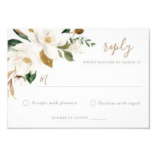 Floral Elegant Magnolia Blush Neutral Wedding RSVP Invitations