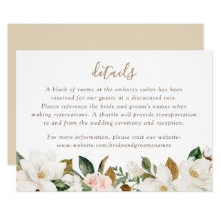 Floral Elegant Magnolia Blush Pink Neutral Details Invitations