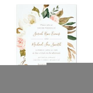 Floral Elegant Magnolia Blush Pink Neutral Wedding Invitations