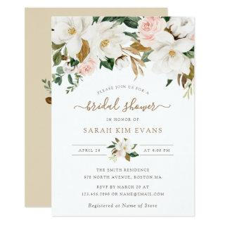 Floral Elegant Magnolia Blush White Bridal Shower Invitation