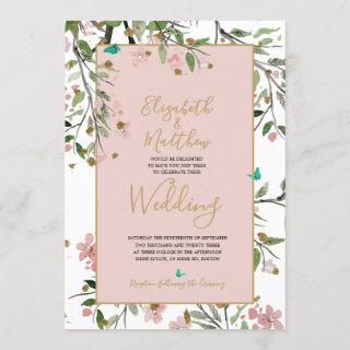 Floral  Elegant Pink Gold Chinoiserie Wedding