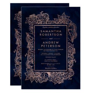 Floral faux rose gold navy blue watercolor wedding Invitations