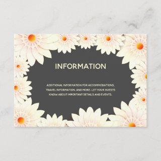 Floral Flowers Cream Orange Gray Wedding Enclosure Card