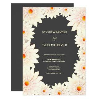 Floral Flowers Cream Orange Gray Wedding Invitation