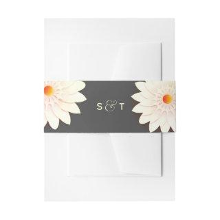 Floral Flowers Cream Orange Gray Wedding Invitations Belly Band