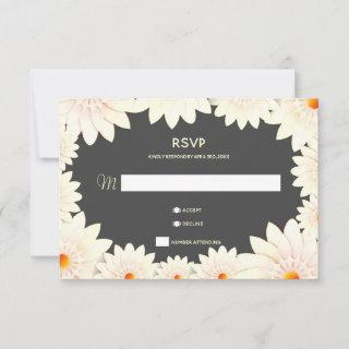 Floral Flowers Cream Orange Gray Wedding RSVP Card