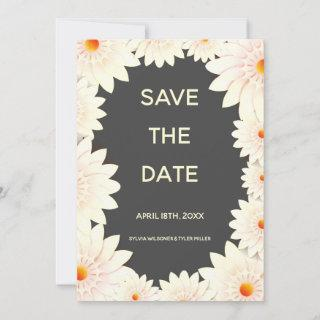 Floral Flowers Cream Orange Gray Wedding Save The Date