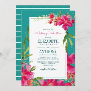 Floral Fuchsia | Turquoise Watercolor Wedding Invitations