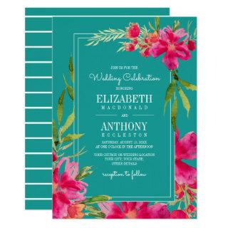 Floral Fuchsia | Turquoise Watercolor Wedding Invitation