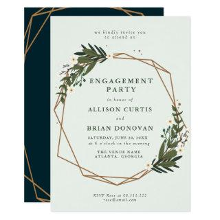 floral geometric engagement party invitation
