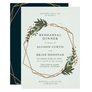 floral geometric rehearsal dinner invitation