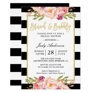 Floral Gold Modern Brunch and Bubbly Bridal Shower Invitation