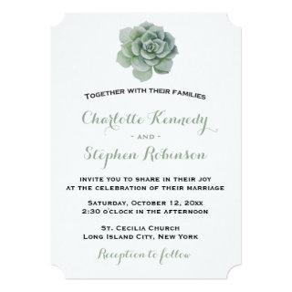 Floral Green Succulent Cactus Wedding Invitations