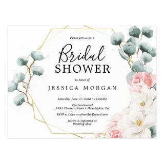 Floral Greenery Bridal Shower Invitation Postcard