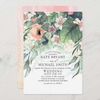 Floral Greenery Summer Garden Romantic Wedding Invitation